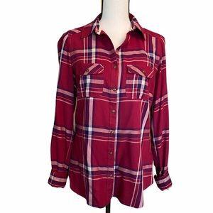 Burgundy Plaid Super Soft Button Down Shirt